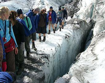 フランツジョセフで氷河ウォーク