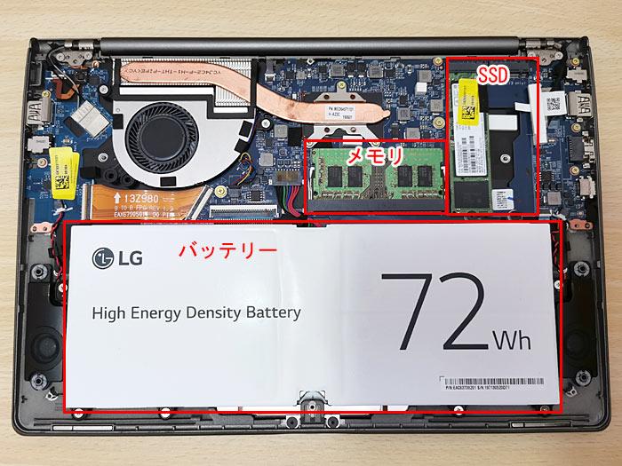 ノートパソコン「LG gram」を分解してSSDを1TB増設
