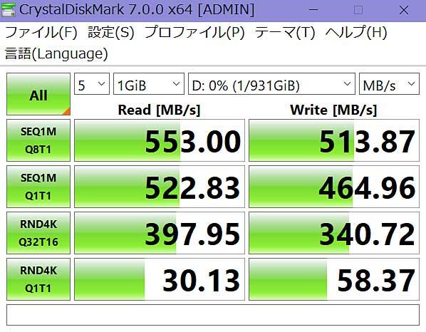 SSDの速度をチェック