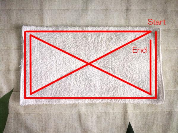 タオルの四つ折りで作る、ミシンで雑巾の縫い方、作り方 使い捨ても