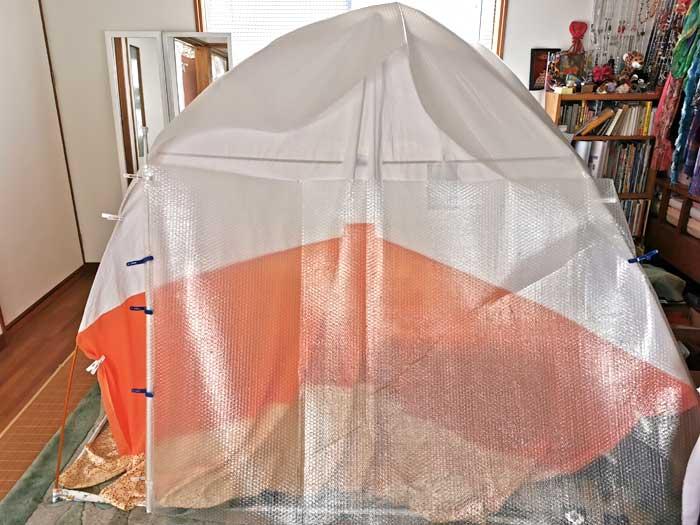 冬の室内テント