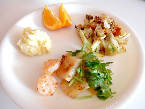 エビと白身魚のソテー&野菜炒め